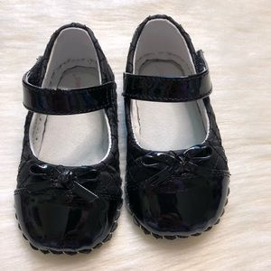 Pediped Black Quilted Mary Janes 18-24mo size shoe